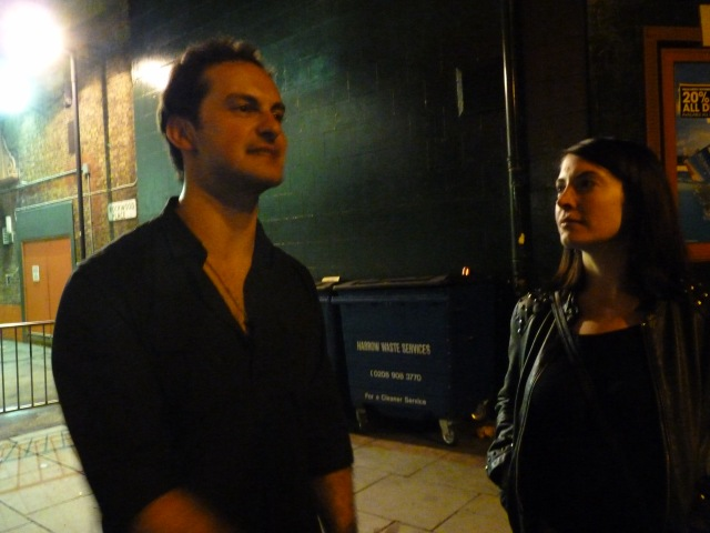 Louise and Andrea from Crystal Fighters outside Shepherd's Bush Empire before he had to and pack away his drums