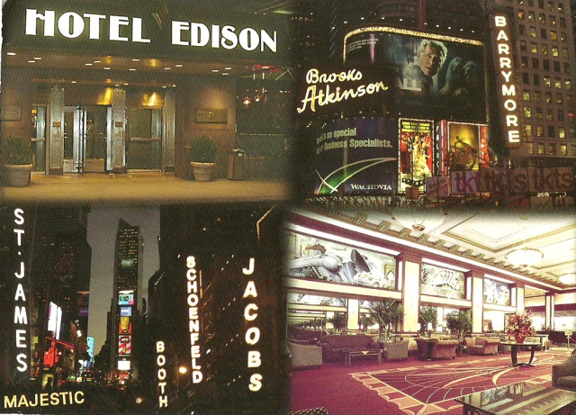 New York's Art Deco Gem Hotel Edison - In the heart of Times Square- Broadway Theatre District, close to cultural and tourist attractions and many corporate headquaters.  Restaurant, coffee shop, lounge, exercise room and business centre