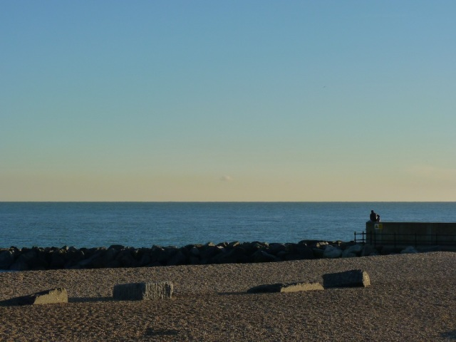 Man on beach in Folkestone 2nd December 2012