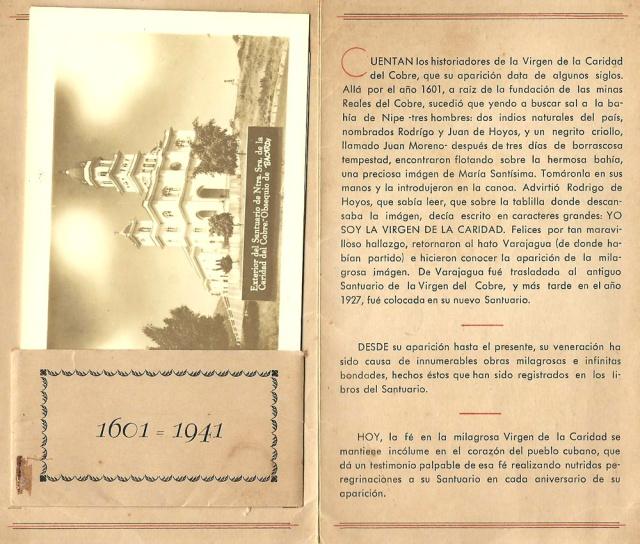 La Cia Ron Barcadi S.A promotional material for pilgrims to El Santuariro de la Virgen de la Caridad del Cobre, Patrona del Pueblo de Cuba offering them photographs