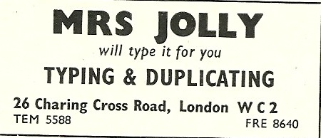 Mrs Jolly Will Typing It For You 'Theatre World' June 1954
