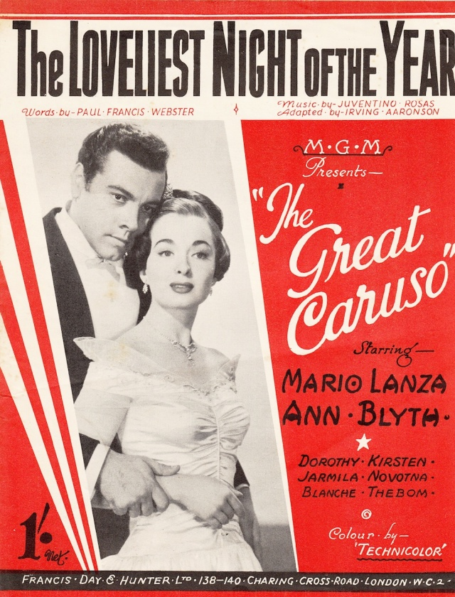 'The Loveliest Night of the Year' The Great Caruso' starring Mario Lanza and Ann Blyth published by Francis Day & Hunter 138-140 Charing Cross Road London WC2