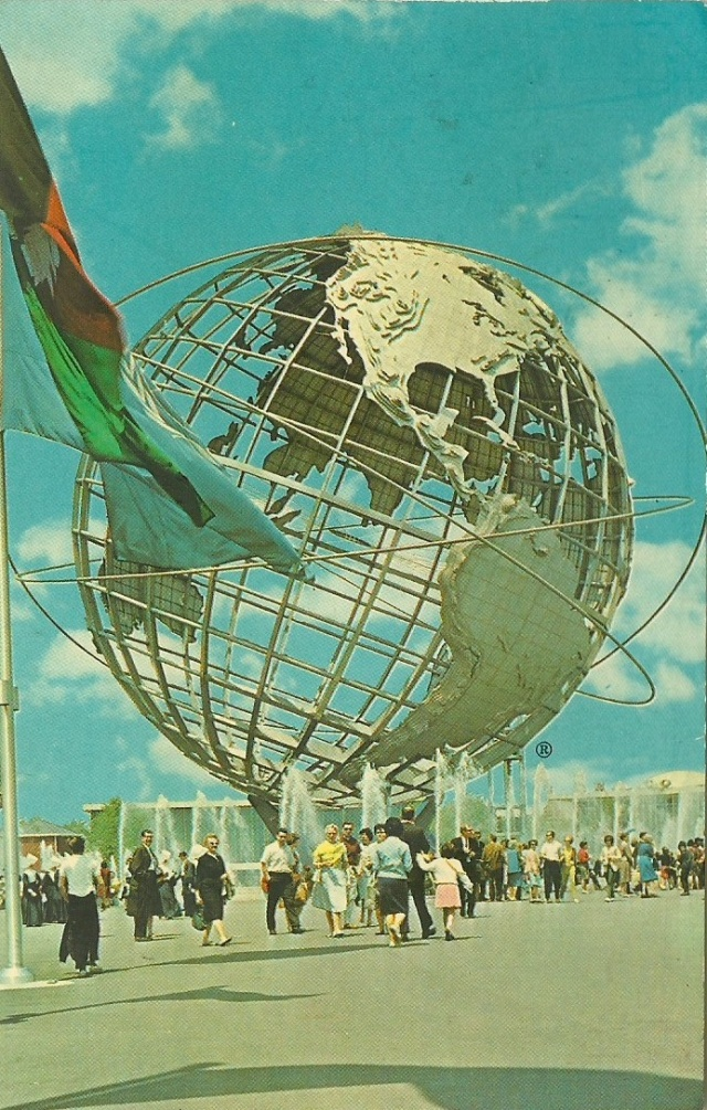 Unisphere New York World's Fair 1964-1965 Post Cards by Dexter, West Nyack, N.Y  The Unisphere is the theme symbol of the Fair.  Its top is 140 feet above ground level and the glove is 120 feet in diamter with an open grid of latitudes and longitudes supporting the land masses.  The reflecting pool beneath is 310 feet in diameter.  It dramatizes the interrelation of the peoples of the world and their yearning for 'Peace through Understanding'