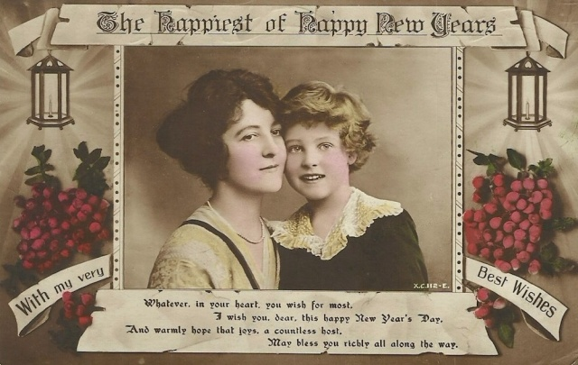 The Happiest of Happy New Years postcard unmarked