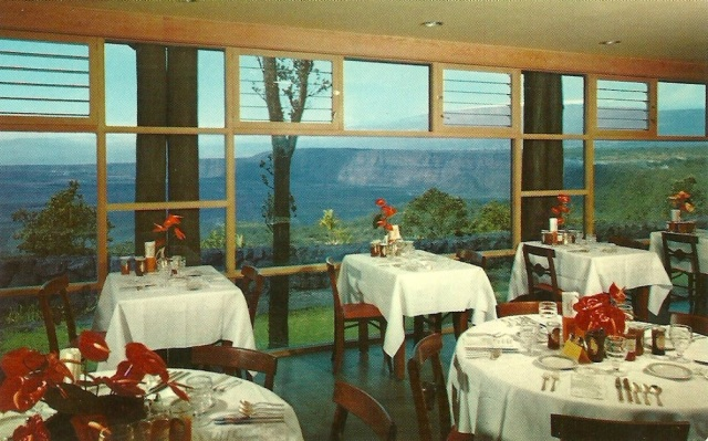 Dining Room, Volcano House, Hawaii Halemaumau firepit, Kileuea crater and 13,680 foot snow capped Mauna Loa Volcano are clearly visible through the picture windows of the new Volcano House dining room card by H S Crocker Co Inc