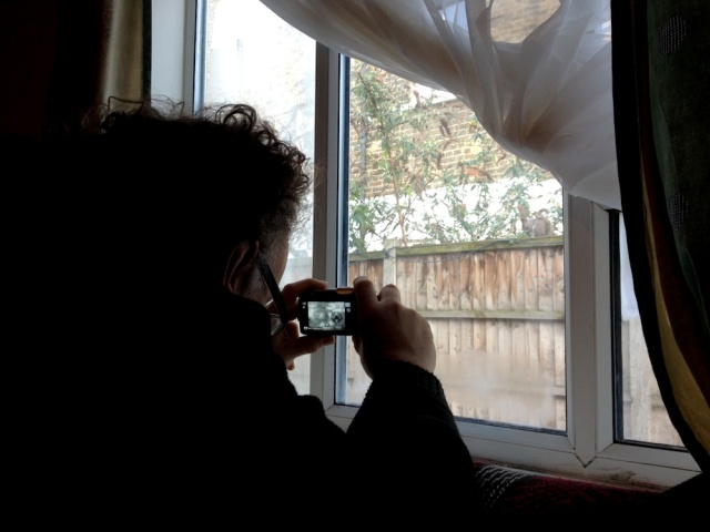 Marko taking a picture of a squirrel from Dada Studios February 2014