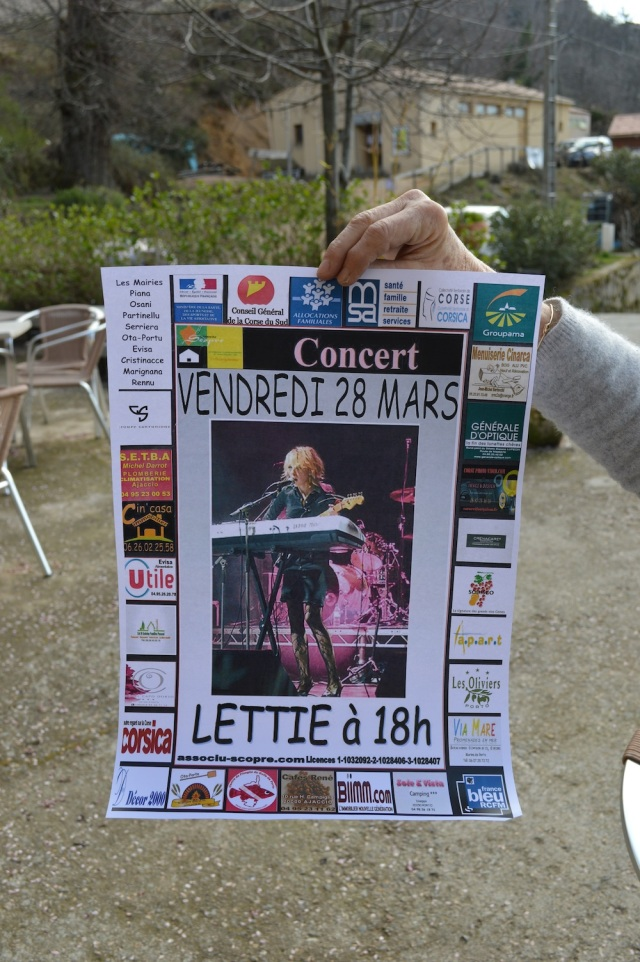 Poster advertising Lettie's performance at Ustaria Di A Rota March 28th 2014