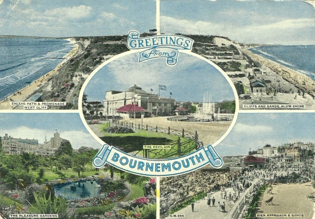 Dear Popsy we arrved 6.30 we spent the day touring it was lovely the weather is grand.  S is much about the same she sends her love Amy Les and Bernard 1956 Bournmouth copyright Sunray Continental Color Series published by Thunder & Clayden