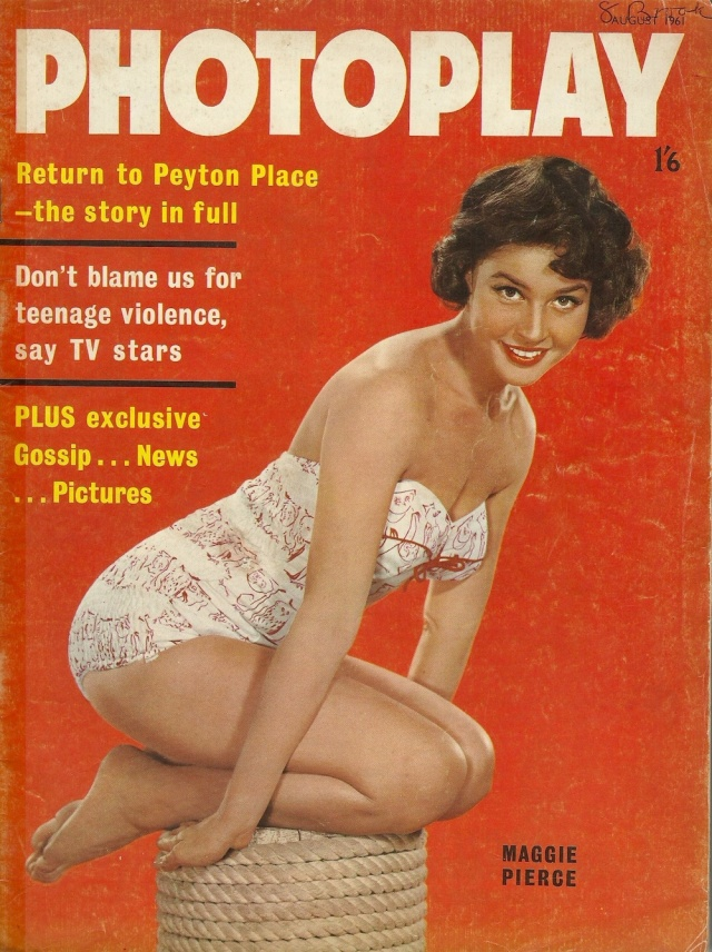 Photoplay cover Maggie Pierce ( see her in M-G-M's The Subterraneans) August 1961 Vol 12 No 8