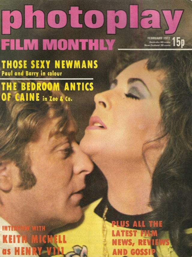 Cover of Photoplay February 1972 published by Photoplay Film Monthly 12-18 Paul Street London EC2A 4JS