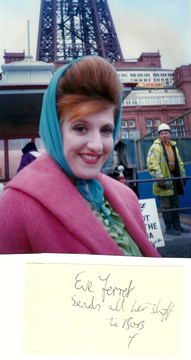 Eve Ferret UK Films-TV-Actress Blackpool Golden Mile on a movie location February 1996 Photograph copyright of Robert McDougall