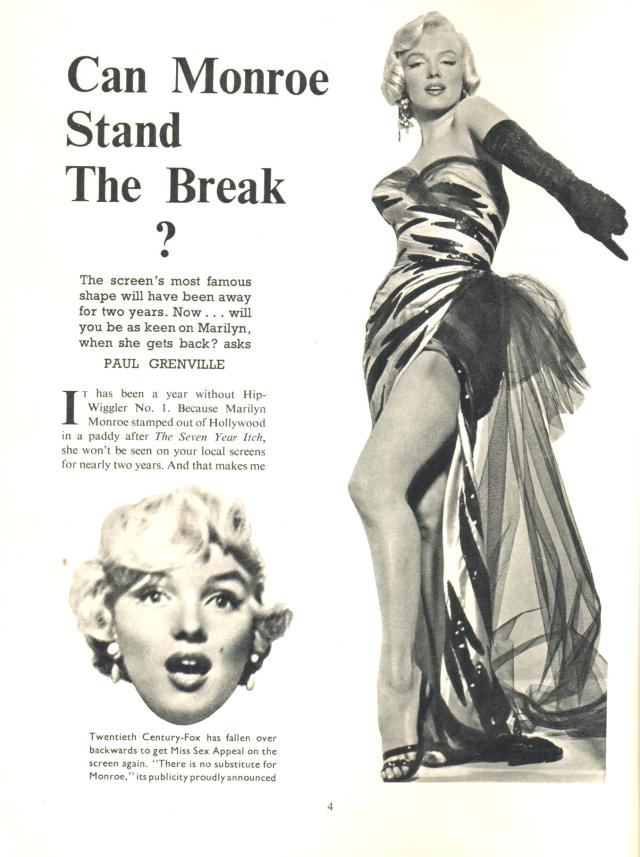 Can Monroe Stand The Break from Picturegoer Film Annual 1956-57 -She believes that she has registered hard enough to survive this yawning gap in her career.