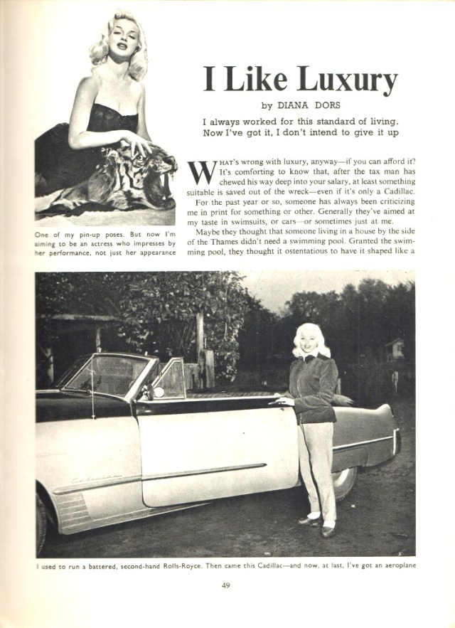 I like luxury by Diana Dors from Picturegoer Film Annual 1956-57 Edited by Robert Ottaway Odhams Press Limited, Long Acre, London