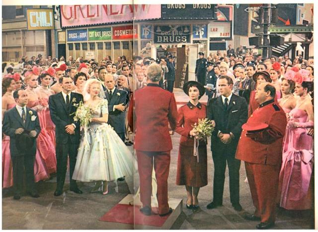 The double wedding Marlon Brando, Jean Simmons, Frank Sinatra, Vivian Blaine in Times Square from Guys and Dolls from Picturegoer Film Annual 1956-57