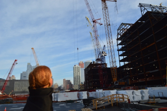 Dolly looking at the building work from The High Line New York November 2015