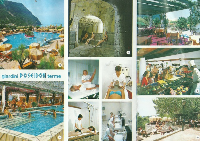 From leaflet for Ischia giardini Poseidon terme 20 poools (thermal, Kneipp, ocean-water) have been installed according to the latest technical and medical knowledge from the island of Ischia of volcanic origin