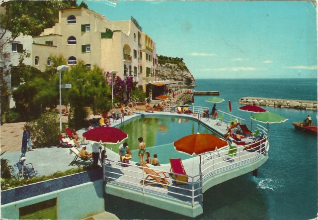 Lacco Ameno The Island of Ischia The Sporting Swimming Pool printed in Italy dated 30 August 1970 'Ale veehio amieo, sveglia!'