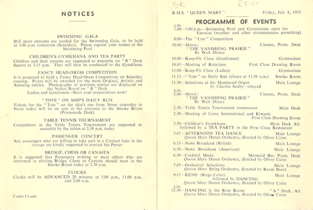 Programme for to-day Cunard