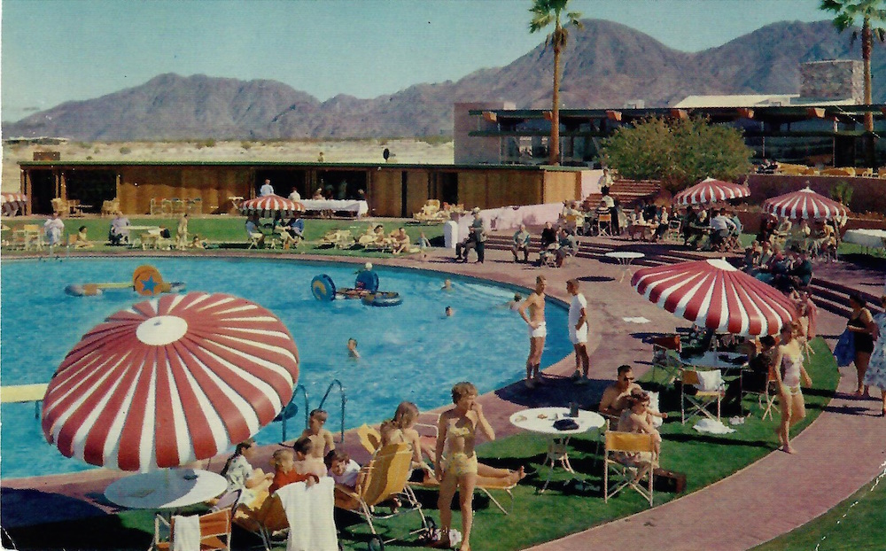 The beautiful pool and luxurious buildings of the fabulous Shadow Mountain Club