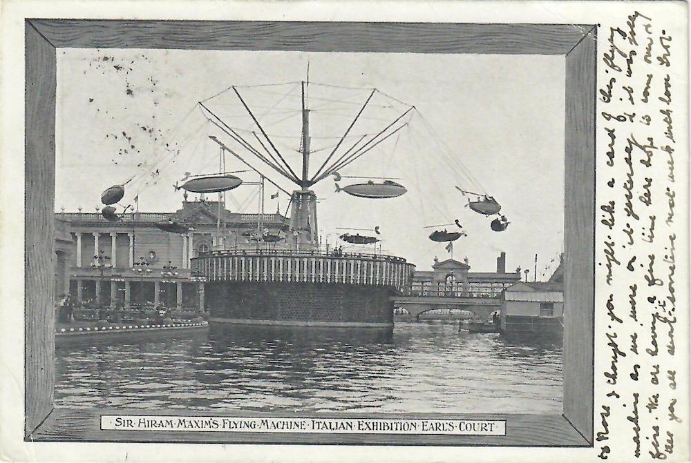 Maxim's Flying Machine Earls Court 1904 Italian Exhibition oldest fairground ride in Europe