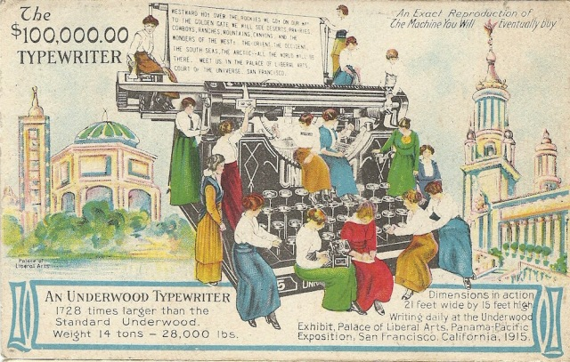 Advertising Postcard Underwood Typewriters unmarked post card