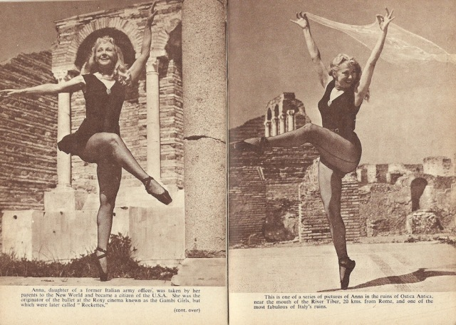 Double page from August 1955 London Magazine Anna founder of New York's Rockette Chorus