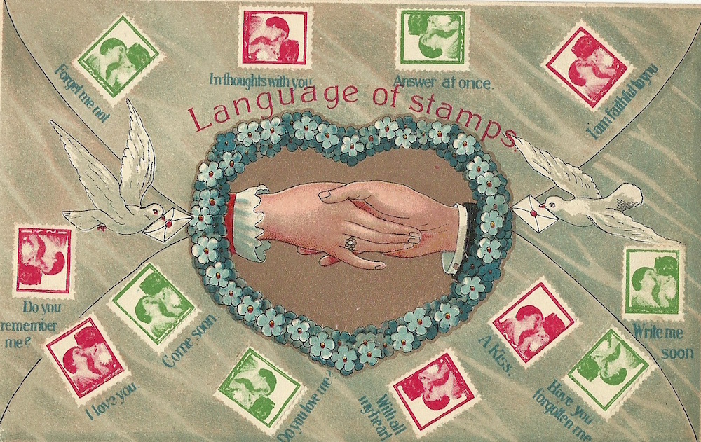Language of Stamps unmarked embossed postcard The Alpha Series Processed in Switzerland
