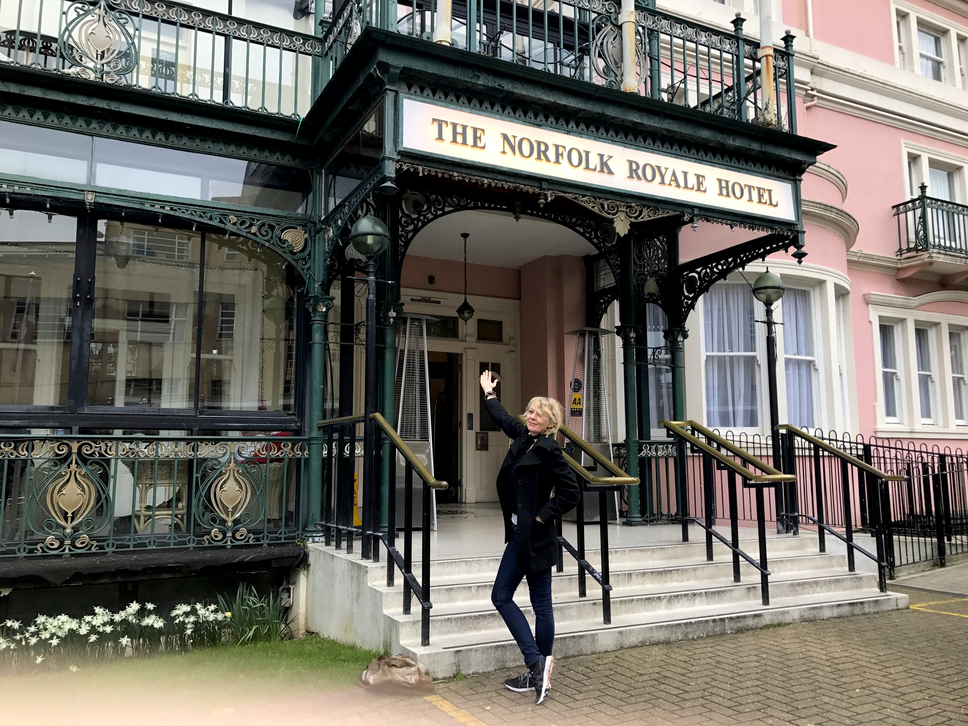 Lettie in Bournemouth outside her Godfathers hotel The Royal Norfolk 6 April 2018