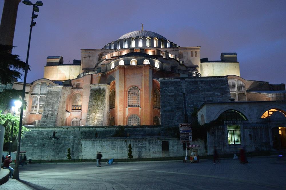 Hagia Sophia at night October 2018