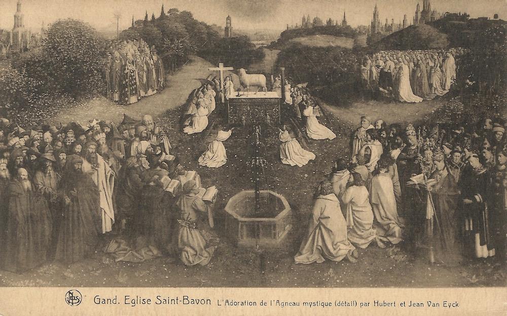Gand Eglise Saint-Bavon L'Adoration de L'Agneau mystique (detail) par Hubert et Jean Van Eyke