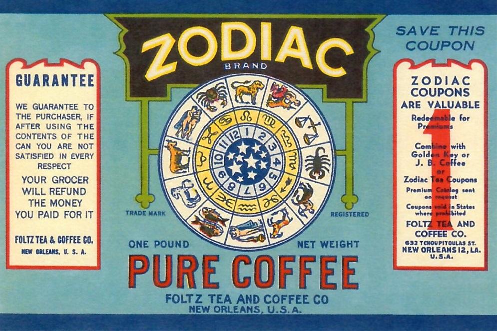 Pure Coffee Zodiac Brand reproduction postcard