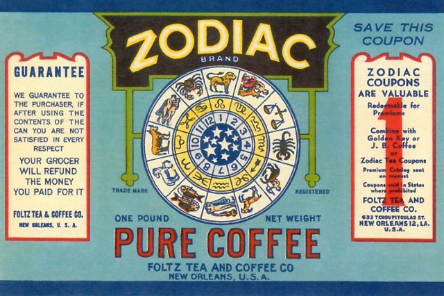 Pure Coffee Zodiac Brand reproduction postcard