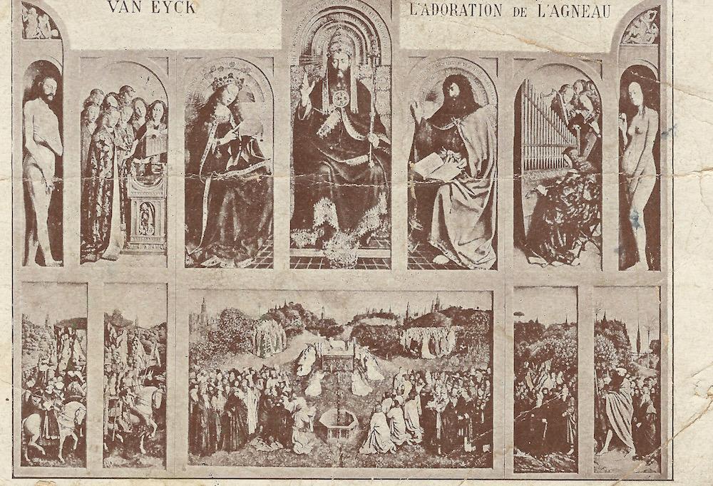 Van Eyck L'Adoration de L'Agneau posted 16 August 1920