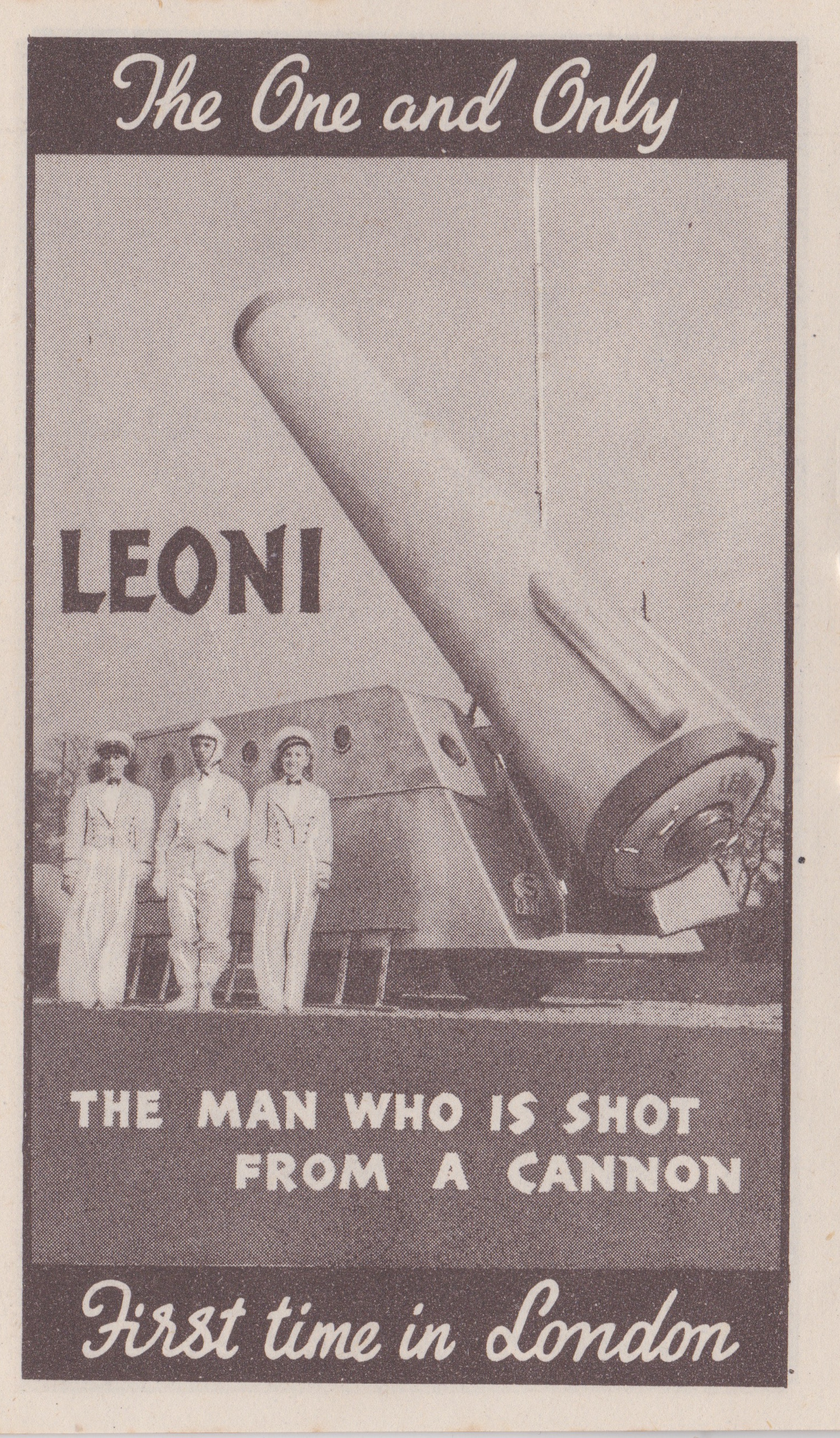 Bertram Mills Circus Dec 17 1948 Leoni the Man who is shot from a Canon