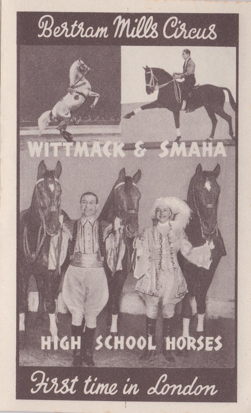 Bertram Mills Circus Dec 17 1948 Wittmack and Smaha High School Horses