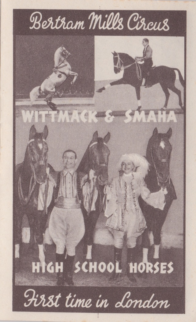 Bertram Mills Circus Dec 17 1948 Wittmack and Smaha High School Horses