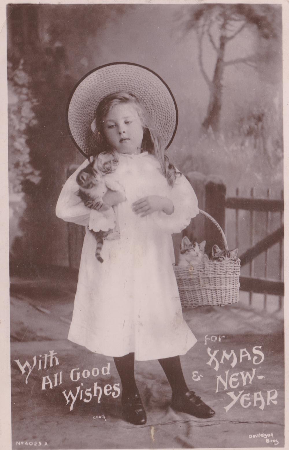 Davidson Bros 'Real Photographic' series Dec 1906 wishing Mrs Harding a merry xmas