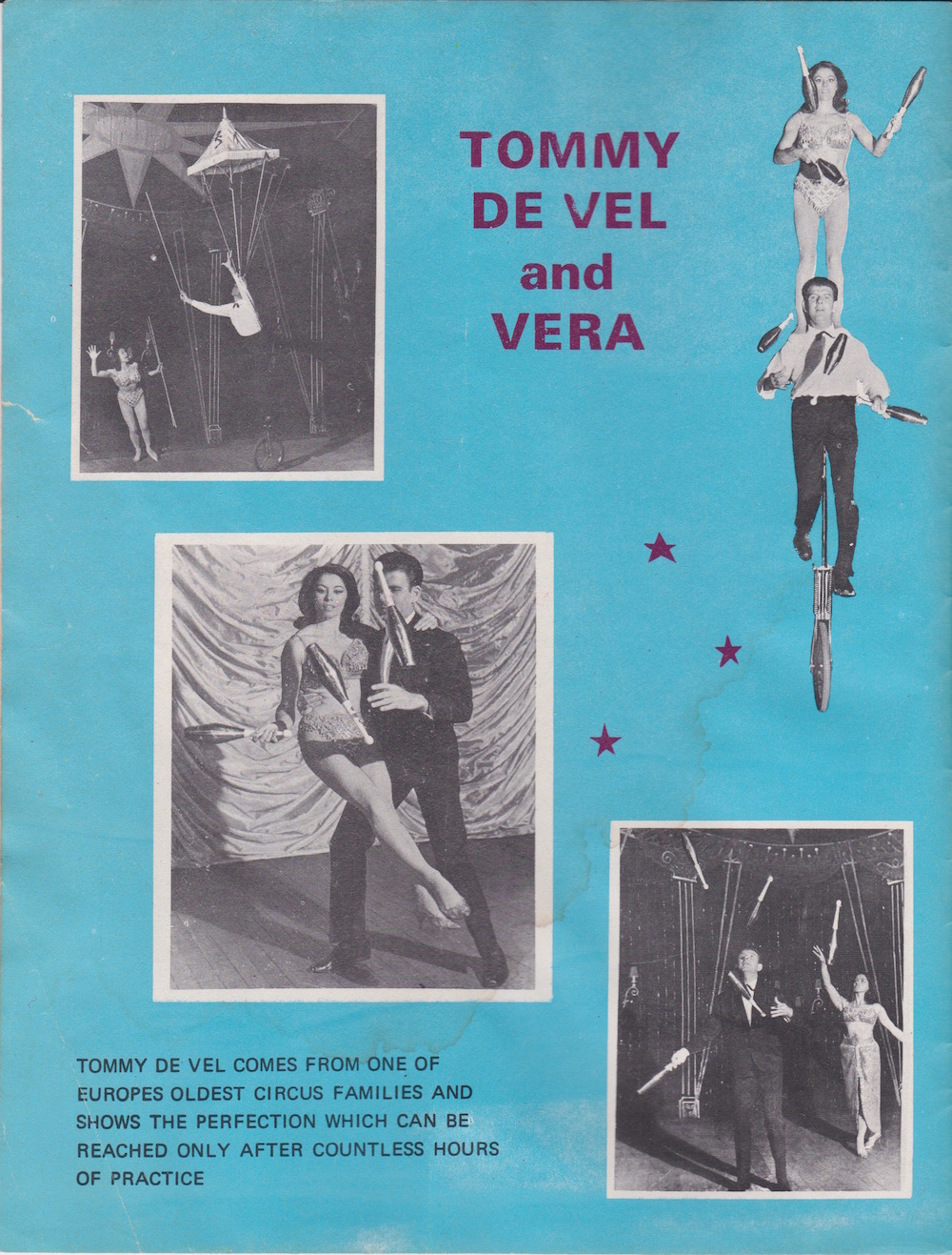 From Chipperfields Circus programme 1970 Tommy de Vel and Vera