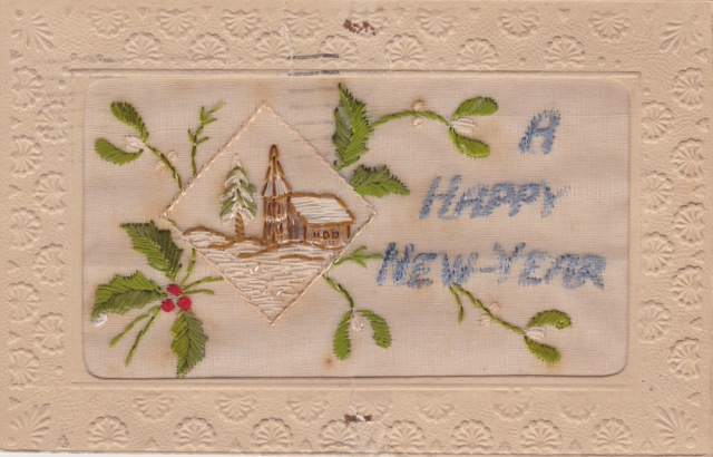Hand woven Carte Postal sent 6.15pm on 31 December to Mrs Campbell in Edinburgh