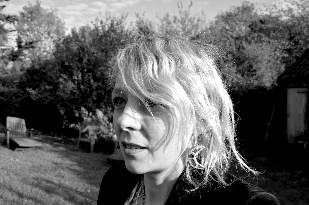 Lettie in Suffolk with her Andrew Logan earrings