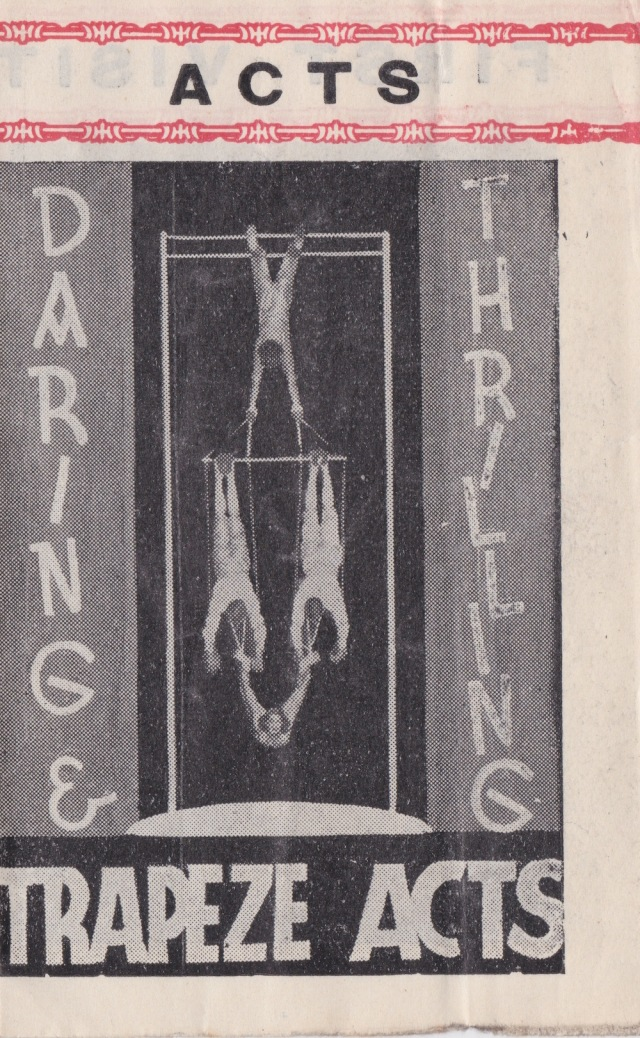 Trapeze Acts Gigantic Continental Circus Aston programme 28 January (unknown year)
